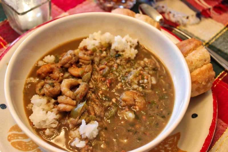 Dining on gumbo during Super Bowl at the family table ... yum!