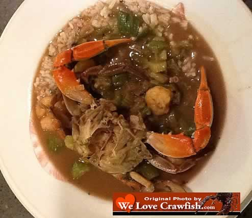 Louisiana Seafood Gumbo served over rice
