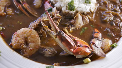 Photo of Louisiana seafood gumbo, with crawfish, shrimp, crab and okra