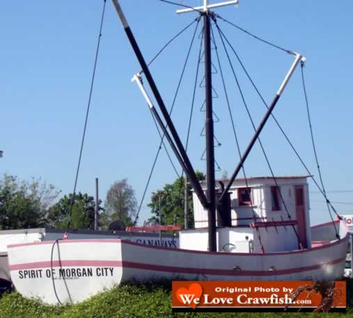 "The shrimp boat ""Spirit of Morgan City"" in the median of the highway at Morgan City, Louisiana"